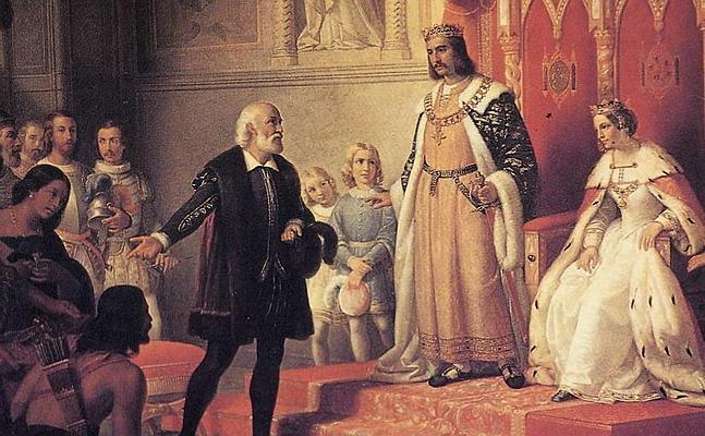 """Cuadro representativo de """"Cristóbal Colón en la Corte de los Reyes Católicos"""""""