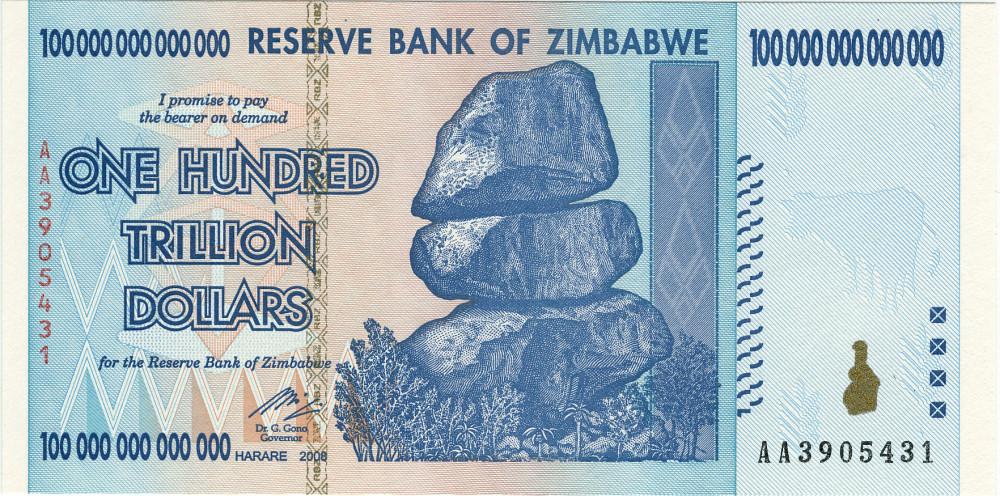 Billete de 100 billones de dólares de Zimbabwe